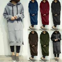 Womens Hooded Winter Sweatshirt Ladies Long Sleeve Hoodie Maxi Dress Jumper