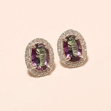 Natural Russian Spectrum Mystic Topaz Earrings Studs 925 Sterling Silver Jewelry