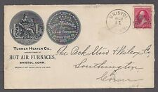 BRISTOL, CT ~ TURNER HEATER CO. HOT AIR FURNACES, 1897 ADVERTISING COVER