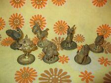 Lot x7 Ancienne STATUETTE ANIMAUX d'AFRIQUE en METAL DORE LAITON ? Art Ethnique