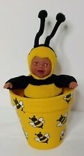 "AFRICAN AMERICAN 9"" ANNE GEDDES BABY BEE IN FLOWER POT"