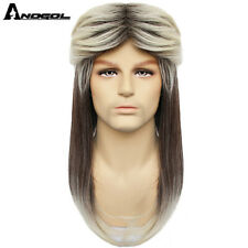 70s 80s Hallween Metal Rocker Disco Blonde Wigs with Bangs Mullet Wig for Women