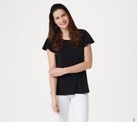 Susan Graver Liquid Knit Scoop-Neck Flutter Sleeve Top, Solid Black, M