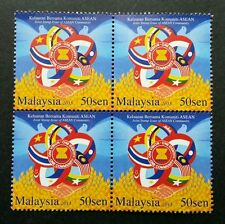 Malaysia Joint Issue Of ASEAN Community 2015 Flag (stamp block of 4) MNH