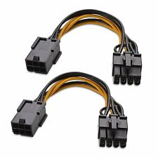 2-Pack 6 Pin to 8 Pin PCIe Power Adapter Cable