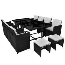 vidaXL 33 pcs Patio Rattan Wicker Garden Dining Set Outdoor Chairs Table Black
