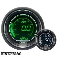 Prosport 52mm Evo coche Boost 3 Bar Calibre Verde Y Blanco Lcd Pantalla Digital