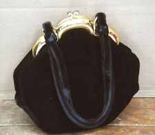 Vintage ROSENFELD Black VELVET Woman's HAND BAG PURSE Made in ITALY