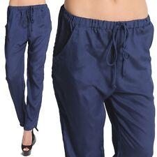 TheMogan Elastic Waist Pleated Drape Trousers Pants Casual Soft Slacks NAVY M