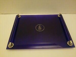 Vintage Vanity Tray Avon Glass Cobalt Blue Premium Goddess Diana