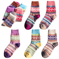 5/1 Pairs Women Thick Wool Cashmere Warm Soft Casual Multicolor Winter Socks US