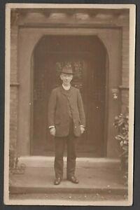 Postcard Gawsworth nr Macclesfield Cheshire vicar in Church doorway RP early