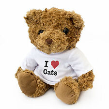 NEW - I LOVE CATS - Teddy Bear Cute And Cuddly - Gift Present Birthday Xmas