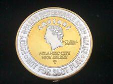 CAESARS PALACE: Atlantic City, NJ .999 FINE Silver/24K $40 Casino Token #1