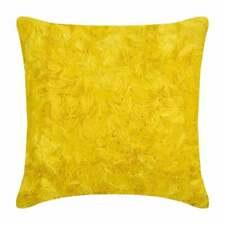 Accent Throw Pillow 16x16 inch Yellow Handmade Silk, Ribbon - Yellow Sunshine