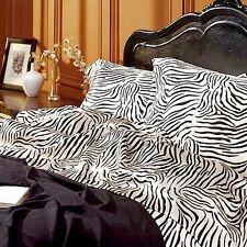 Satin Sheet Set QUEEN Size Zebra Print Animal Safari Bedding Silky Smooth New