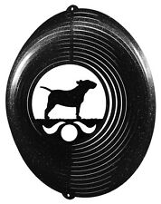 Bull Terrier Dog BLACK Metal Swirly Sphere Wind Spinner *NEW*