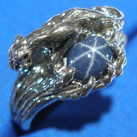 Blue Star Sapphire Cougar, Panther Ring, Sterling Silver made to order your size