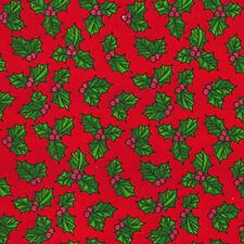 856 Tela de Algodón de poliéster impresas-Navidad Acebo-Rojo