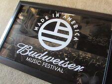 NEW Budweiser Made In America Music Festival Beer Mirror Bud Light Bar Sign Flag