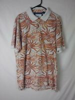 Caribbean Joe Mens Shirt Size XL Orange Floral Short Sleeve Polo Hawaiian Cotton