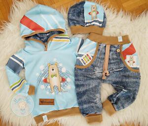 ♥ Baby-/Kinder-Set, Gr. 86, handmade Unikat, Babyshirt, Babyhose, Skater-Bär ♥