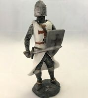 """Medieval Knight Crusader 7"""" Figurine White Cloak Suit of Armor Sword and Shield"""