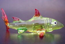 Glass SHARK Glass Animal Glass Ornament Tinted Green Red Curio Aquarium Animal