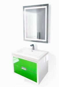 "Modern 24""-60"" Bathroom Vanity White/Green +LED Mirror+sink+faucet"
