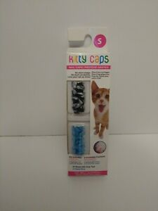 Size Small Black/silver And Blue Kitty Caps Cat Nail Covers. Lot of 7 packs.