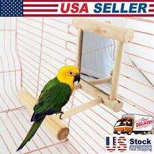Wooden Parrots Cockatiel Toy Mirror Vanity Stand Platform for Bird Perches Usa