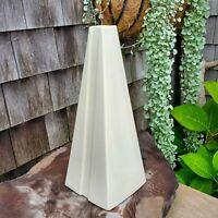 Vintage Haeger Pottery Vase Mid Century White USA #4399 Lrg Geometric Triangle