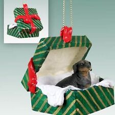 Dachshund Black Tan Dog Green Gift Box Holiday Christmas Ornament