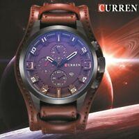 Montre Militaire Sport Homme Top MarQUE Quartz Date Large Bracelet Cuir