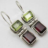 """925 Sterling Silver Rectangle Cut Peridot & Garnet Dangle Earrings 1.1"""" Gemstone"""