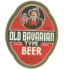 One Quart Old Bavarian Type Beer Label, IRTP, Sunbury Brewing Co., Sunbury, PA