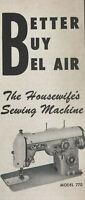 Bel Air Sewing Machine Magazine Print Ad Vintage 1959 Household Appliance