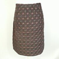 Mistral Brown Geometric Corduroy Embroidered Winter Casual Aline Skirt Size 16