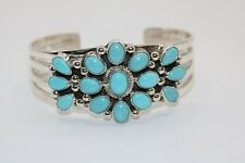 KATHLEEN CHAVEZ NAVAJO CUFF BRACELET WITH BLUE TURQUOISE. STERLING
