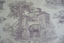 P Kaufmann Fabric Victorian Zoo Toile Cream Plum SOLD BY THE YARD Baby Nursery