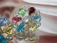 SO pretty X Sparkly Vintage 50's Colorful Rhinestone Clip Earrings  1096J5