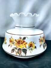 """Vintage Milk Glass Hurricane Lamp Shade Hand Painted Floral 10"""" fitter"""