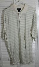 Jos A Bank Mens Ledbetter Golf Short Sleeve 3 Button Striped Cotton Shirt Sz L