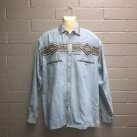 Vintage 90s Off The Top Denim Shirt Aussie Surfwear Embroidered Rare OOAK L RAD