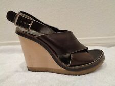 CHLOE Dune Sports Sandal Wedges Leather Crisscross Straps Brown Sz 38/8