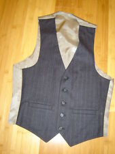 Sherlock Holmes steampunk suit vest dark navy light stripe  lined  38 C