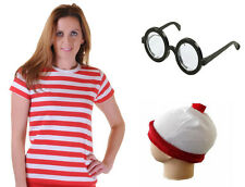 NEW WOMENS RED & WHITE T-SHIRT HAT GLASSES COMPLETE OUTFIT COSTUME