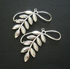 Ox Brass Stamping Pendant . 2-Branch Leaf Embellishment Antique Silver