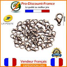 Lot Fermoir Mousqueton 16mm Cuivré Lot de 1,3,10 ou 20 Bijoux Bracelet Collier