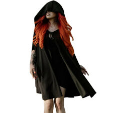 Spring Casual Solid Color Sleeveless Hooded Cloak Cape Gothic Vampire Coat Girls